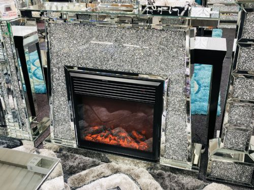 Crushed Diamond Fire Place (White) - CDF447